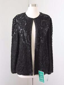 Adrianna-Papell-Black-Silk-Beaded-Sequin-Evening-Jacket-Size-M-Formal-New