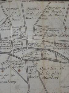 Tres Rare EO Jaillot RUES DE PARIS Plan 20 ARRONDISSEMENTS 1745 Montmartre Cite