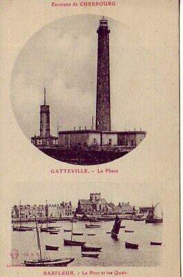 Radient Cpa 50 Normandie Cherbourg Barfleur Port Quais Bateaux & Gatteville Le Phare Matige Prijs