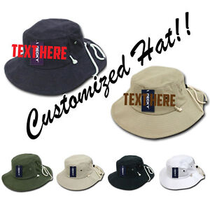 fbd1bdab Image is loading CUSTOM-EMBROIDERY-Personalized-Customized-Decky-Australian- Bucket-Hat-