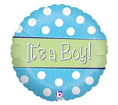 "18/"" It/'s a Boy Blue Polka Dot Mylar Foil Balloon Baby Shower Gender Reveal"