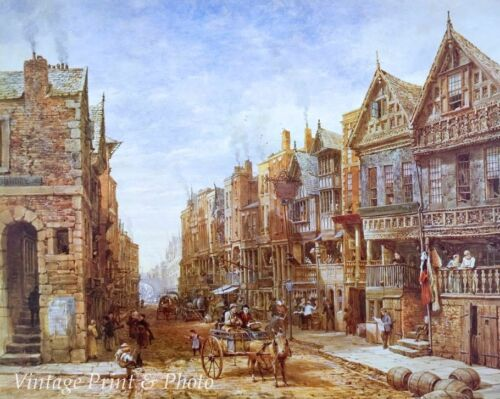 Watergate Street Art  Old England UK 8x10 Print 0987 Chester by Louise Rayner