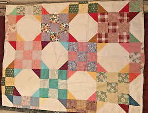 Patchwork-Lap-Quilt-36-x-42-White-Pink-Floral-Geometci-Gently-Used