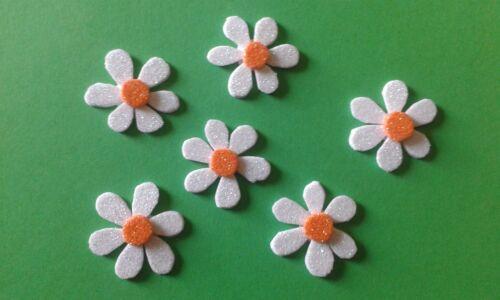 6 Gänseblümchen Blume Blümchen  Deko für Schultüte Blumen Glitzer Handarbeit