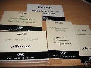 Anleitungen & Handbücher 2003 Hyundai Accent Owners Manuell Owner's Set Etui