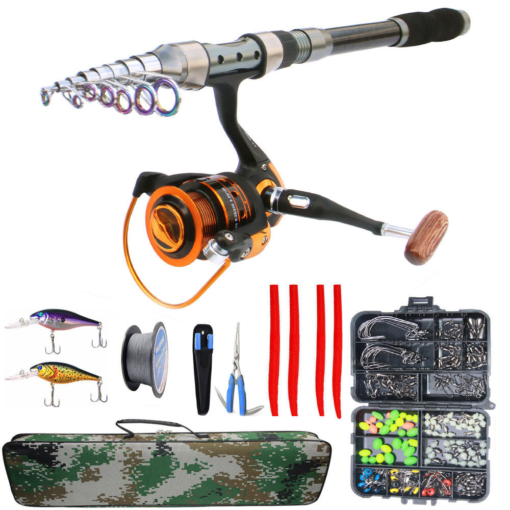Fishing Rod And Reel Combo Kit Spinning Pole Fishing Lures Line Swivel Full Sets