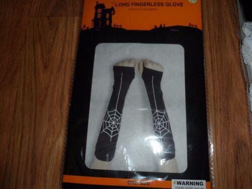 womens//teen girls fingerless long gloves spider web ~  halloween costume