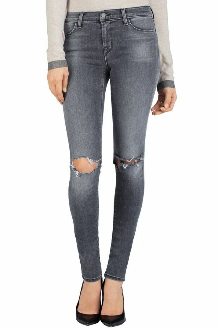 J Brand 620 Nemesis Mid-Rise Close Cut Skinny Destroyed Stretch Jeans Size 28