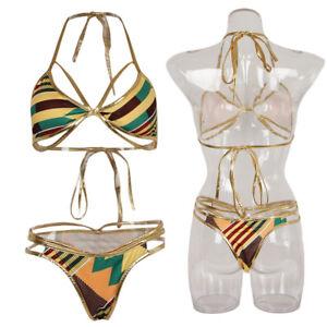 09d0921d7b Image is loading Sexy-African-Print-Bikini-Set-Swimwear-Women-Geometric-