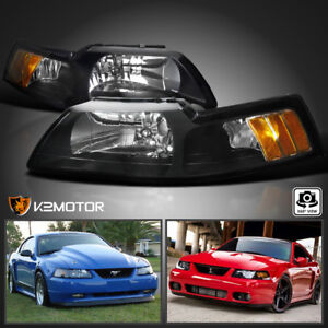 for 1999 2004 ford mustang v6 gt svt cobra black headlights left right ebay details about for 1999 2004 ford mustang v6 gt svt cobra black headlights left right