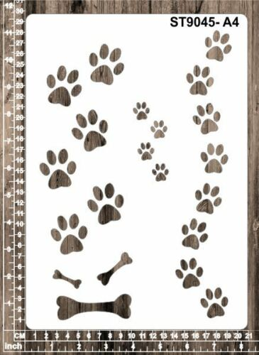 Cardmaking A6 ST9045 Dog Paws Masks for Scrapooking Stencils A5 A4