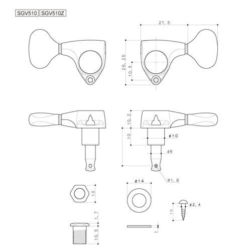 GOTOH SGV510Z-L5-XN L3+R3 Tuners Keys 1:21 Ratio 3x3 ANTIQUE X-NICKEL NEW