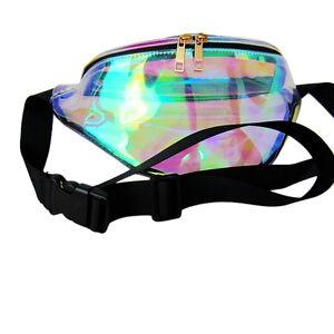 Punk-Girl-Retro-Rainbow-Transparent-Fanny-Pack-Bum-Women-Purse-Waist-Bag-QA