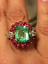 5Ct-Green-Emerald-Diamond-amp-Ruby-Cluster-Cocktail-Ring-in-14K-Yellow-Gold-Over thumbnail 4