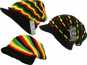 5b919970e Details about ITZU RASTA Reggae Knitted Slouch Over Sized Peak Beanie Cap  Hat Striped Unisex