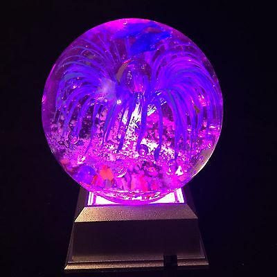Glass Paperweight Ball Blue Dolphins With LED Light Base