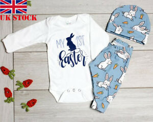 fd789d12c885 Details about 2019 Easter Bunny Outfits Toddler Baby Boy Girl Romper  Bodysuit+Pants Clothes UK
