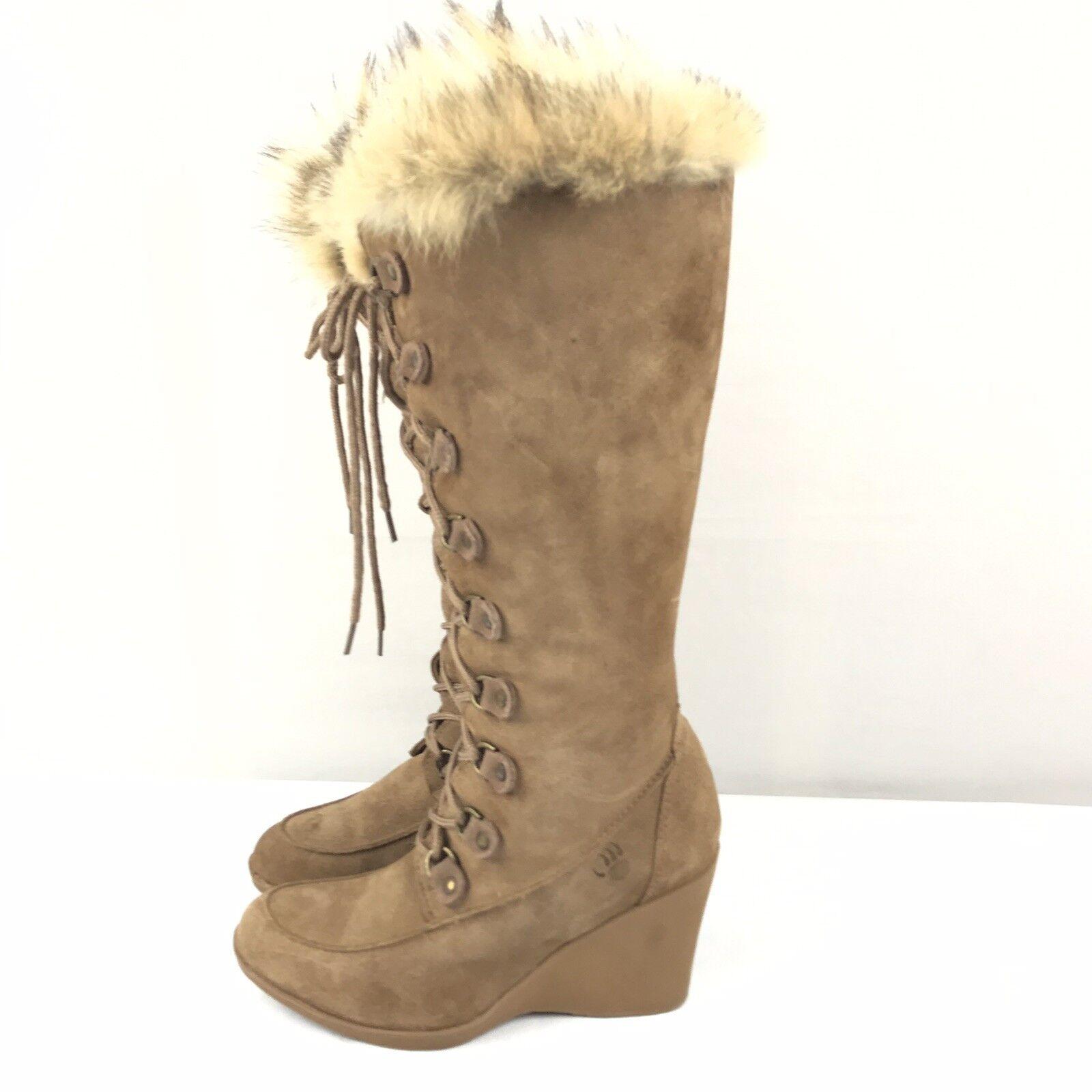 centro commerciale di moda Bearpaw stivali Wedges Genuine Suede Coyote Fur Trim Dimensione Dimensione Dimensione 8 Tan Marrone Lace Up  alta quaità