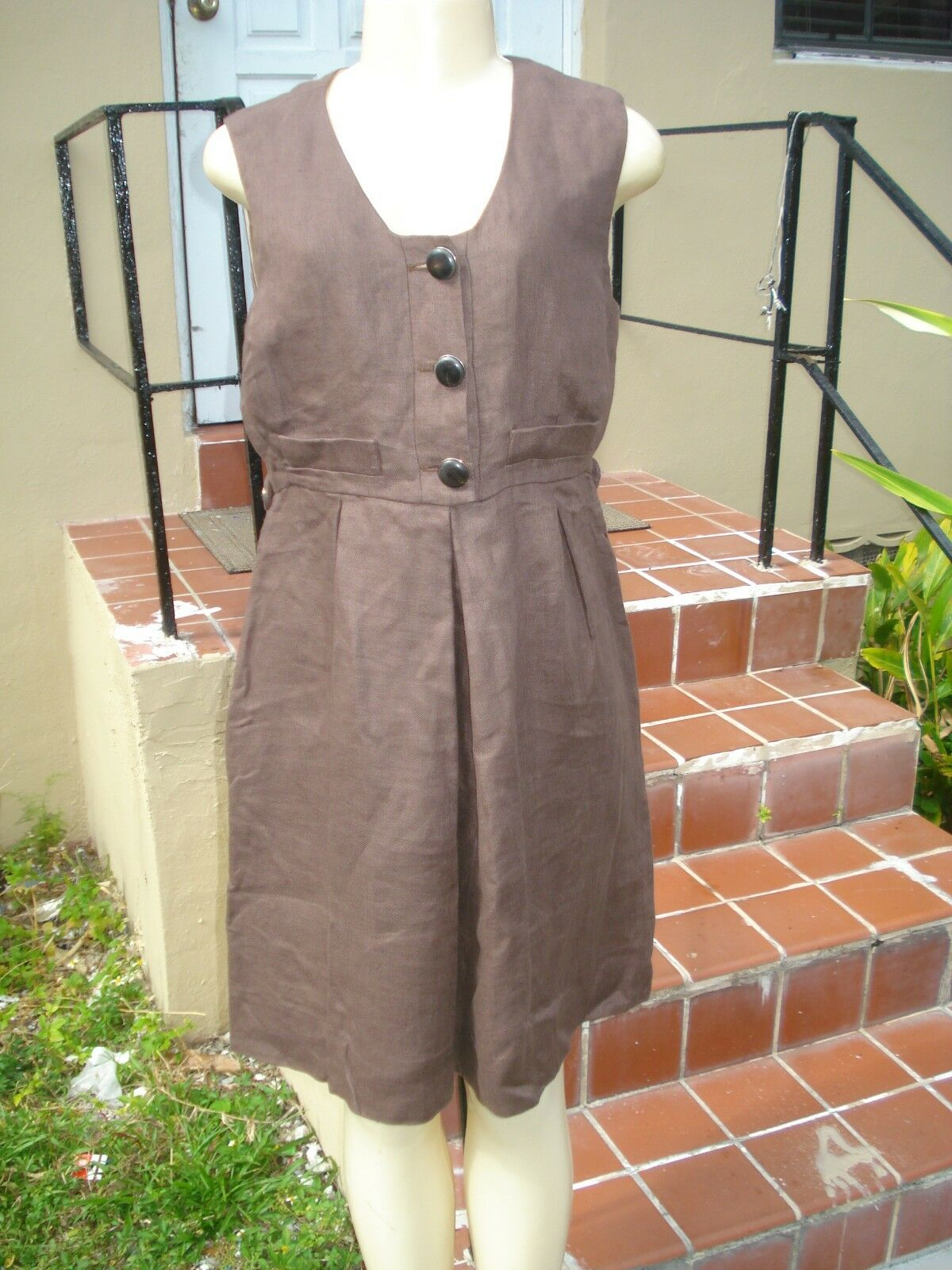 VINTAGE CHLOE BROWN SLEEVELESS LINEN BLEND CASUAL DRESS Sz 40 MADE IN ITALY