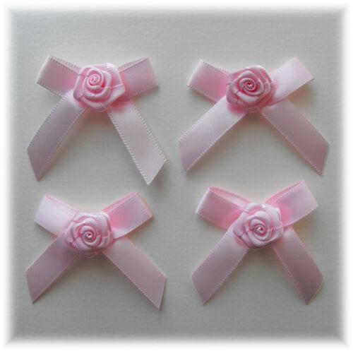 applique bapteme naissance ROSE PALE NOEUD avec rose en satin