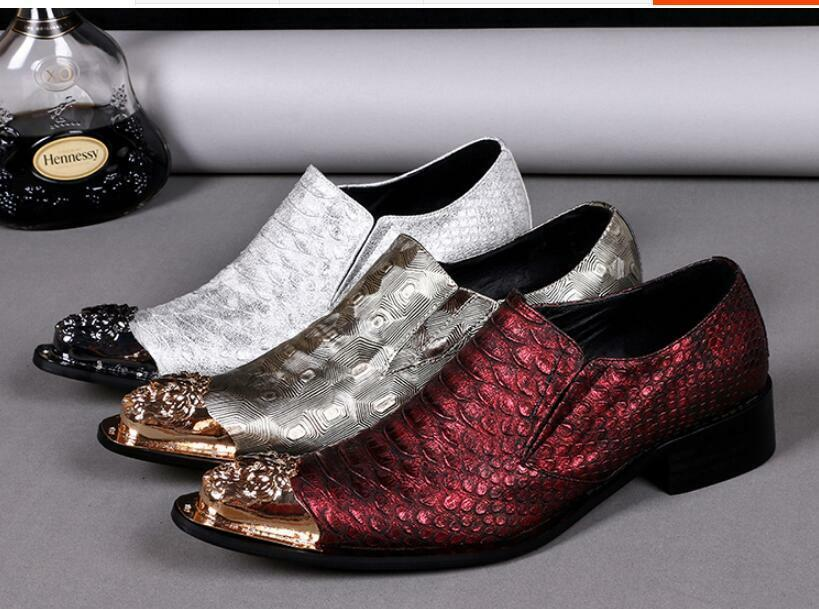 Plus Size Pelle Korean style Uomo Pointed Metal Toe Formal Casual Shoes 3 Color