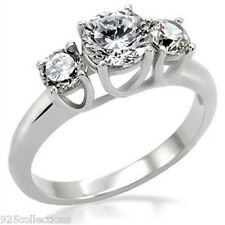 10X7 mm 316 Stainless Steel Clear CZ Stone Lady Engagement Ring Size 5-10
