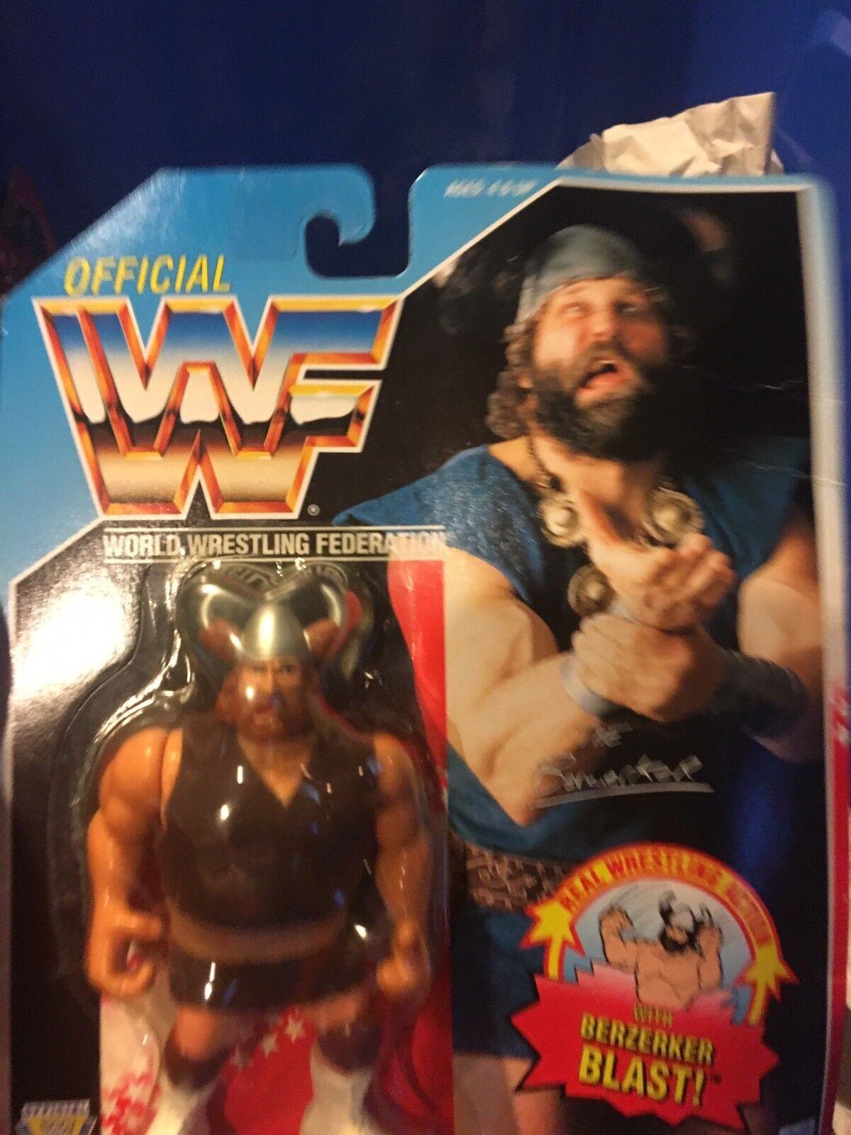 WWF Official BERZERKER 1992 Hasbro Figure MOC BERZERKER BLAST blueE Card