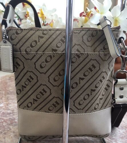 Authentieke Swing pack Signature Streep Beige Tas Euc Cross body Canvas Coach c3TlFJK1