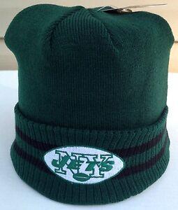 d26c4c635c1 New York Jets Mitchell   Ness NFL Stockey Stripe Cuffed Knit Beanie ...