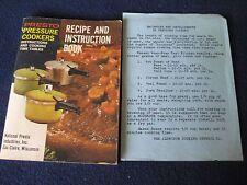 Presto 1971 Pressure Cookers Recipe and Instruction Book