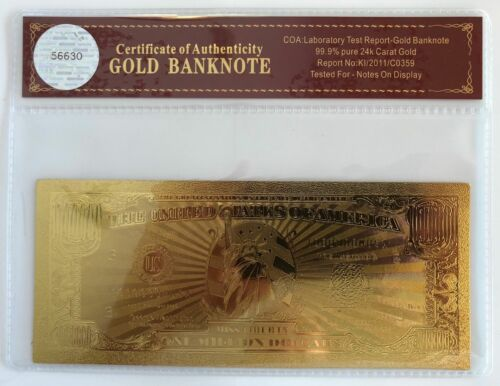 24K Gold Overlay...Banknote..With COA/' $1 Million Dollar Bill..