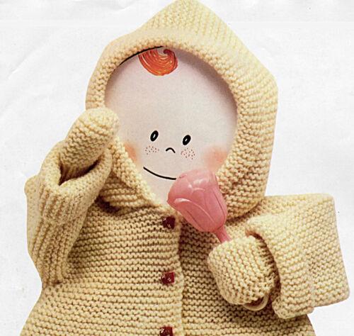 2y P0382 Tejer patrón-Bebé Abrigo Con Capucha Y Mitones 5 Tamaños 0m