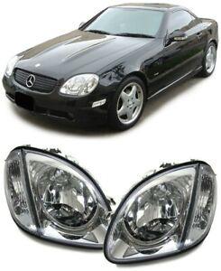 Klarglas-H4-Scheinwerfer-mit-Blinker-chrom-fuer-Mercedes-SLK-R170-96-04