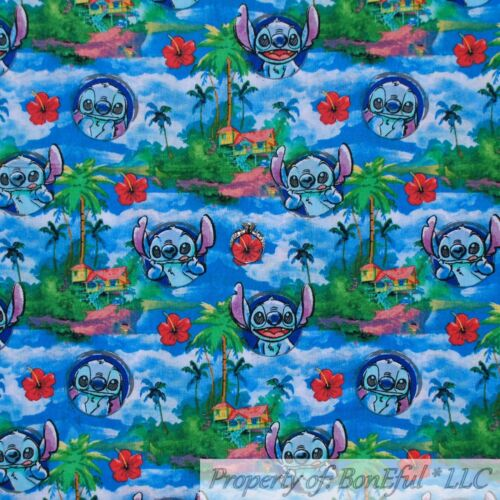 BonEful FABRIC FQ Cotton Quilt Disney Lilo /& Stitch Red Hawaiian Hibiscus Flower