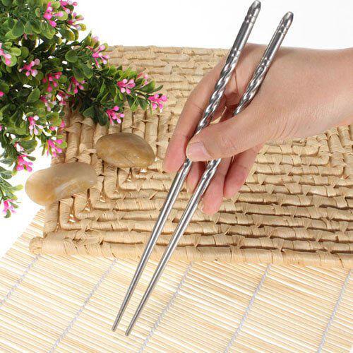 1Pair Chinese Stylish Non-slip Design Chop Sticks Stainless Steel Chopsticks JR
