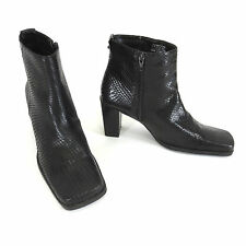 Bandolino Boots 8 M Agora Black Faux Snakeskin Square Toe Side Zip Ankle Boot