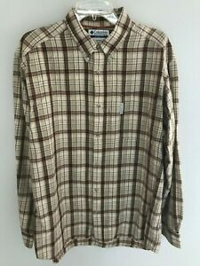 Columbia-Men-s-Long-Sleeve-Button-Up-Shirt-Brown-Burgandy-Plaid-Casual-Sz-Large