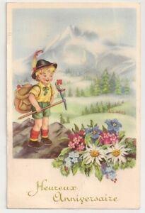 Carte Postale Semi Ancienne Heureux Anniversaire Enfant Alpiniste Fleur 1957 Ebay