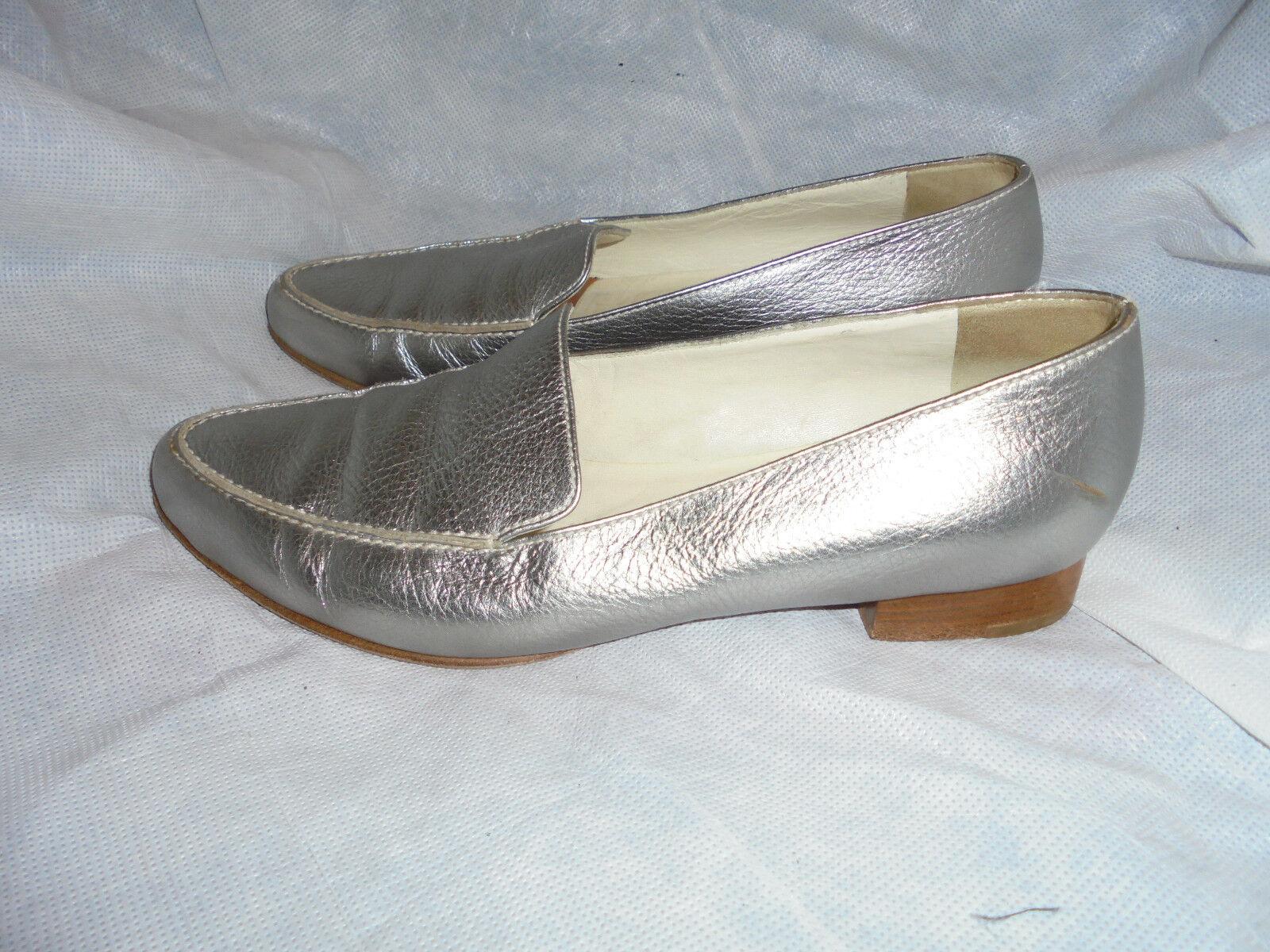 FRATELLI ROSSETTI Femme Argent à Enfiler Chaussures Taille UK 4.5 EU 37.5 très bon état