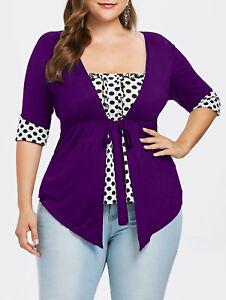 Women-Polka-Dot-Empire-Waist-Tops-Ladies-Casual-Blouse-Shirts-Plus-Size-L-5XL