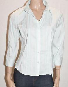 TARGET-Brand-Sea-Green-Stripe-3-4-Sleeve-Stretch-Shirt-Top-Size-L-BNWT-SS77