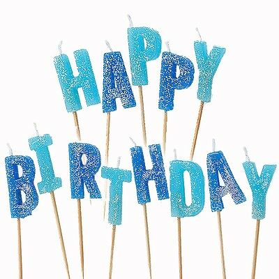 13 Blue Sparkle Happy Birthday Glitter Cake Decoration Pick Candles