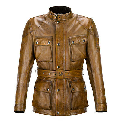 Belstaff Classic Tourist Trophy Burnt Cuero Motorcycle Leather Jacket All Sizes
