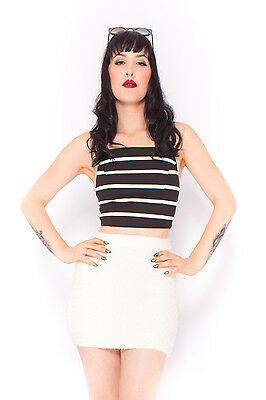 Minimalist Stripe Crop in Black Festival Summer Party White Top Luxe  6 8 10 12