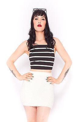 Minimalist Stripe Crop in Black Festival Summer Party White Top Luxe  6 8 10 12