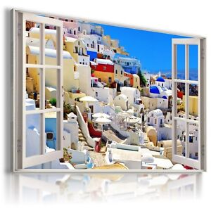 3D-CITY-GREECE-SEA-Window-View-Canvas-Wall-Art-Picture-Large-SIZES-W71