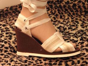 Détails Magnifique Compensé Sandal 1970 Shoes New Sur Old Sandale Vintage T37 0kwOP8n