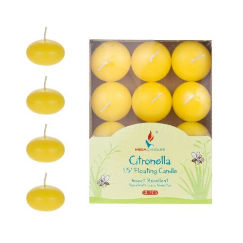 """1.5/"""" Citronella Scented Floating Disc Candles Yellow Set of 24 Mega Candles"""