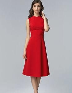 8cc36b54505 Robe de soirée rouge femme cintrée évasée sans manche S62 Nife 34 36 ...