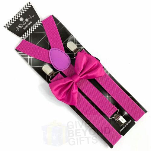 Suspender and Bow Tie Adults Men Pink Magenta Wedding Formal Wear Accessories